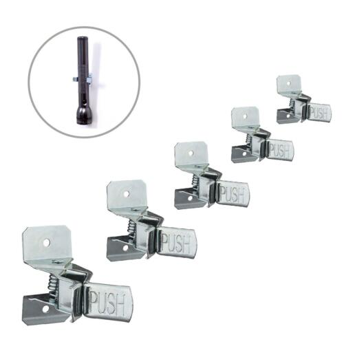 Storage for Garage Sheds /& Work Tools 5 x Spring Loaded Wall Mounted Tool Clips