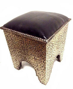 Image Is Loading Moroccan  Tribal Stool Bench Traditional Carved Metal Arabic