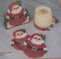 Bucilla Plastic Canvas Roly Poly Santa Coasters Set Of 6 W/holder Kit 61118
