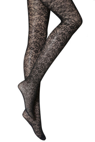 NEW WOMEN/'S GIRLS BLACK  PATTERNED TIGHTS 40 DENIER ONE SIZE S-M  R17