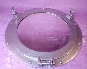 """Ships Cabin 15"""" Porthole Mirror Brushed Aluminum Silver Round Nautical Decor"""