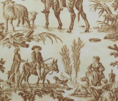Algodón Impreso Marrón Crema Toile dejouy Cortina Tela de tapicería por metros