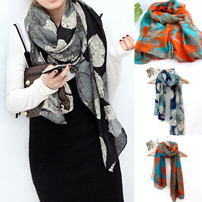 Womens Floral Pattern Long Voile Pashmina Scarf Large Sarong Wrap Stole Shawls