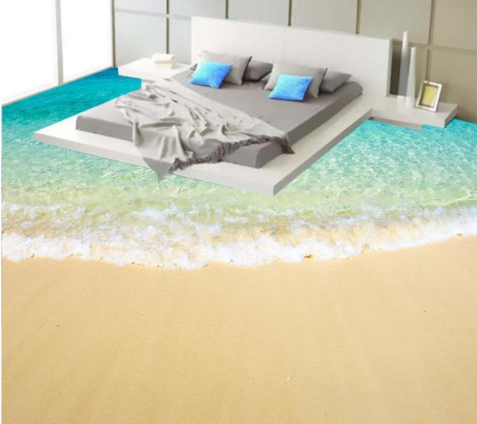 3D Tide Sandy Beach 6 Floor WallPaper Murals Wall Print 5D AJ WALLPAPER UK Lemon