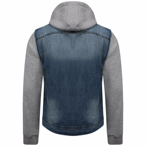 Mens Hooded Cotton Jeans Denim Jacket With Sweatshirt Sleeves /& Hood Size S-4XL