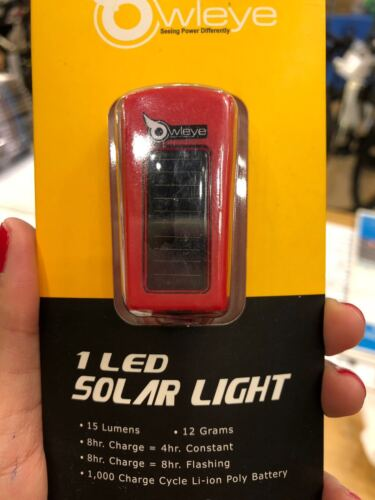 Owleye 1 LED Solar Rechargeable Bicycle Front Light