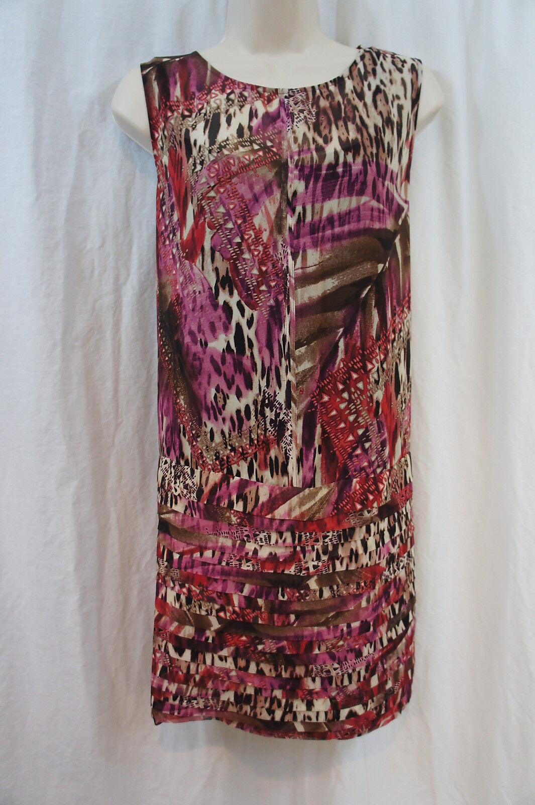 S. L. Mode Kleid Sz 10 Mehrfarbig Bedruckt Rundhals Rollladen Hosen
