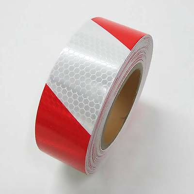 Reflective Tape 50mm X 10m White Red Self Adheisive Vinyl High Intensity Roll