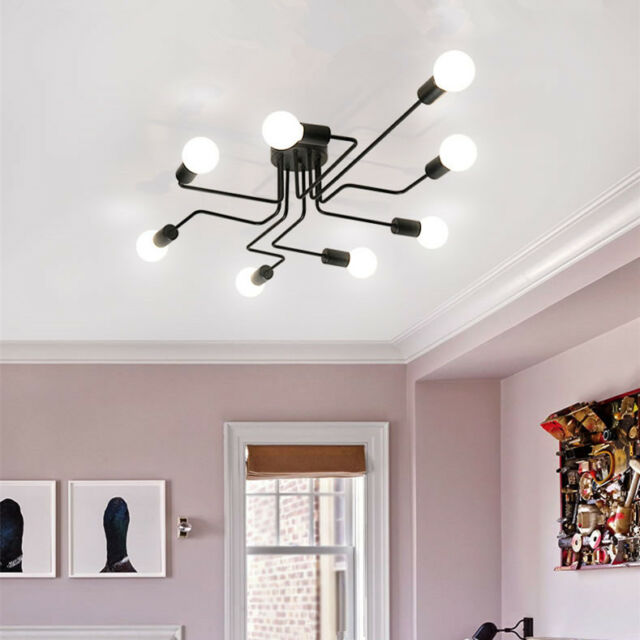 Large Chandelier Lobby Modern Ceiling Lights Bedroom Black Led Pendant Lighting
