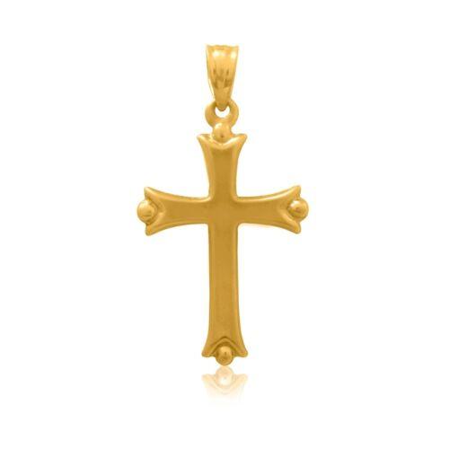 14K réel or jaune brillant Croix Religieuse Pendentif Charm Long de 20 mm