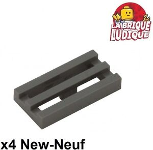 Lego 10x Tile Modified 1x2 Grill Radiator Black//Black 2412b New