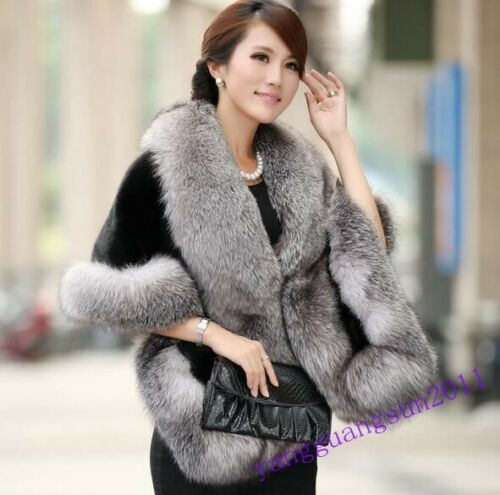 Poncho Winter Coat Fur Cape Hot Jacket Fashion Cloak Outerwear Womens 80 Faux 54qnBHC