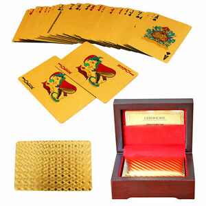 24-Karat-Gold-Plated-Poker-Cards-In-Wooden-Box-54-Cards-and-COA-New