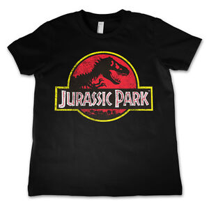Officially Licensed Jurassic Park Distressed Logo Kids T-Shirt Age 3-12 Years
