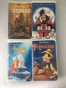 Vhs Movies For Kids Lot Of 4 101 Dalations Pincchio Goonies Sword In Stone Ebay
