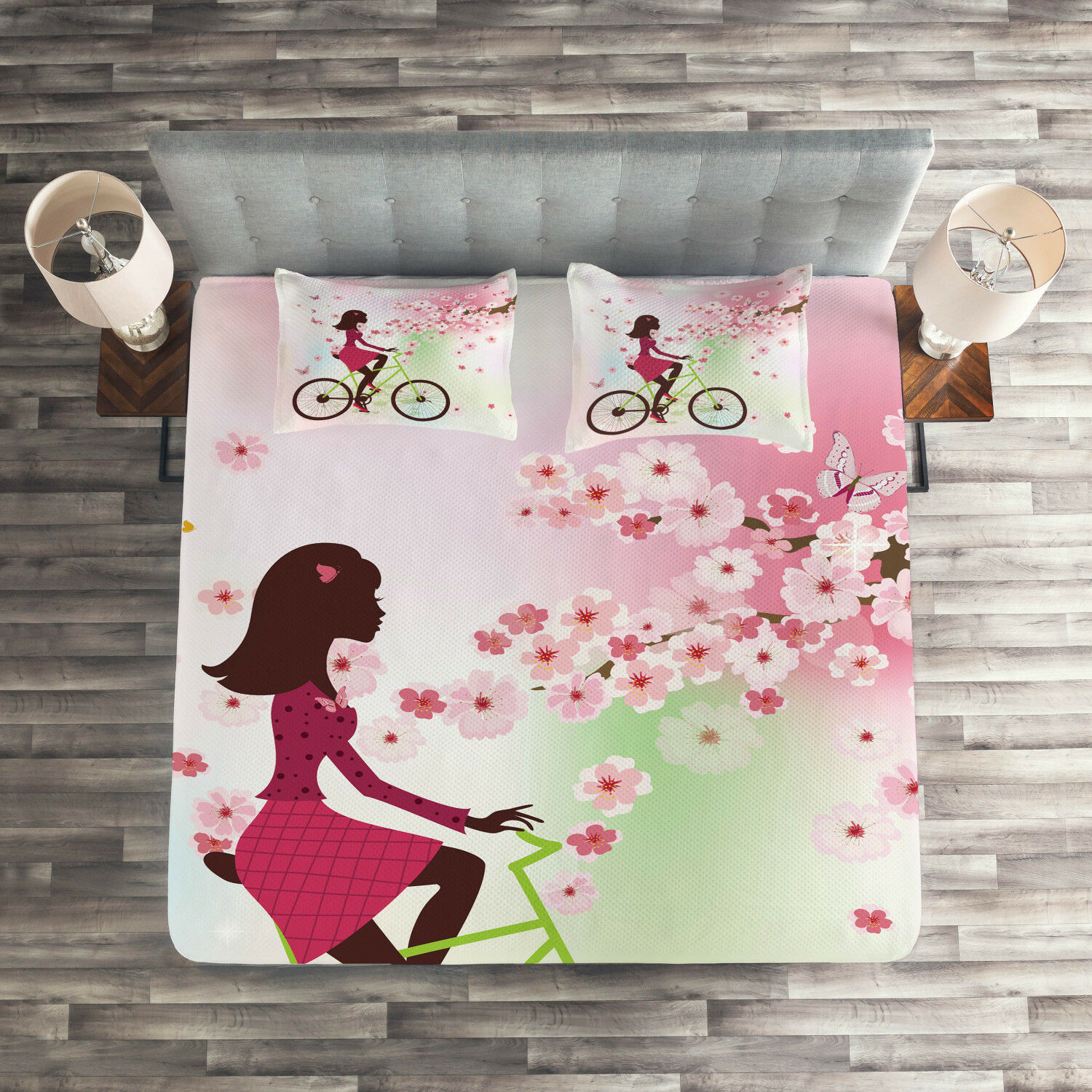 Girls Quilted Coverlet & Pillow Shams Set, Cherry Bloom Lady Bike Print