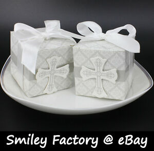 50pcs-White-Cross-Design-Wedding-Favor-Box-Boxes-amp-Ribbon-Birthday-Party-Banquet