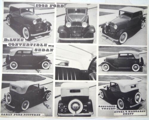Vintage Black /& White EARLY 1932 FORD Deluxe Convertible Sedan CAR Poster
