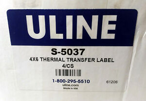 Details about 1 NEW CASE ULINE S-5037 4X6 THERMAL TRANSFER LABELS 4 ROLLS  NIB ***MAKE OFFER***