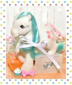 My-Little-Pony-MLP-G1-Vtg-So-Soft-SS-Cupcake-COMPLETE-Accessories-Flocked