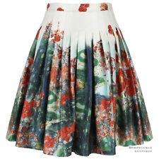 Erdem White Green Red Floral Landscape Salome Dream Full Pleated Skirt UK8 IT40