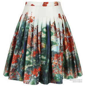 Erdem-White-Green-Red-Floral-Landscape-Salome-Dream-Full-Pleated-Skirt-UK8-IT40