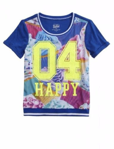 NWT Justice Girls Size 8 or 10 Blue Happy Short Sleeve Graphic Sweatshirt Top