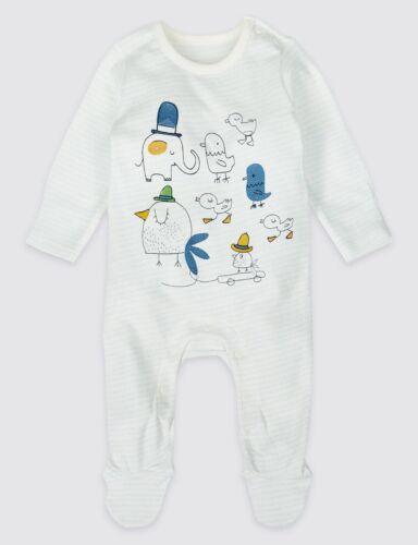 Baby Sleepsuit Elephant et Oiseau Imprimé âge nouveau né NEUF ref 557