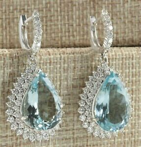 6-50Ct-Pear-Cut-Aquamarine-Diamond-Drop-amp-Dangle-Earrings-14K-White-Gold-Finish