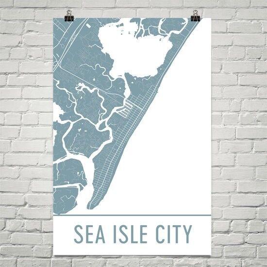 Sea Isle City NJ Street Map Poster