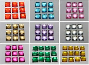 100-Acrylic-Flatback-Faceted-Square-Rhinestone-Gems-12X12mm-No-Hole-Pick-Color