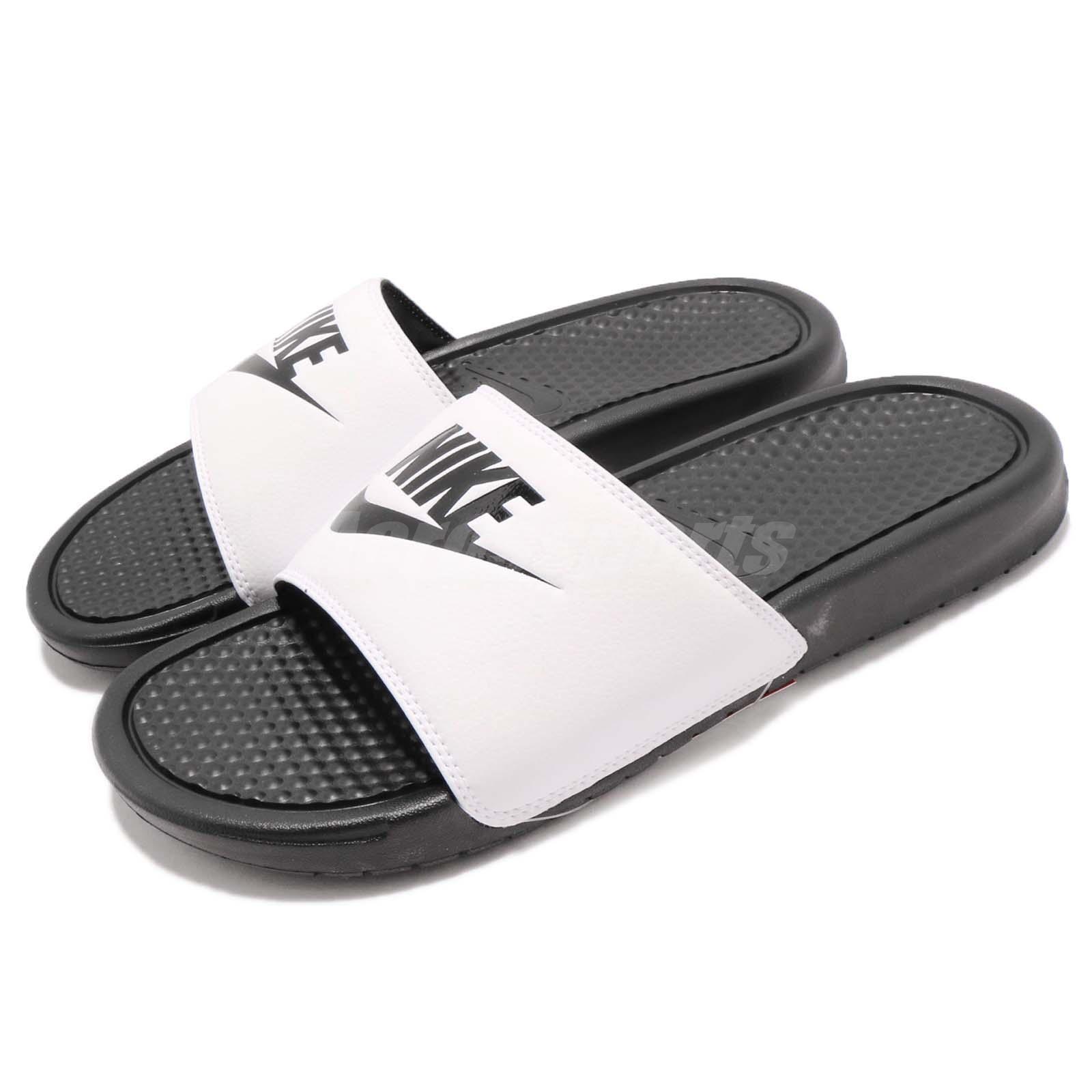 Nike Benassi JDI LOGO Sandal Blanco Negro Hombre Deportes Sandal LOGO Slides Slippers 3438802018 0e8c90