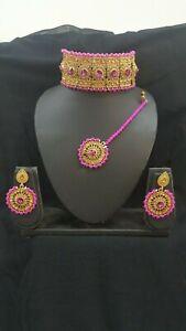 New-Elegant-Pink-Gold-chokar-necklace-tikka-Earrings-set-Party-Bridal-wedding