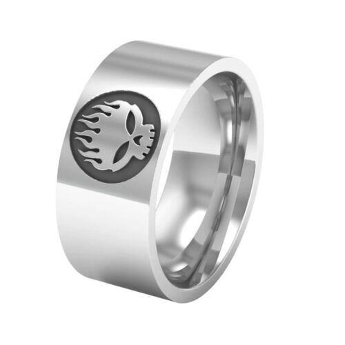 Stainless steel The Offspring logo ring Stylish sleek band skull flame fire