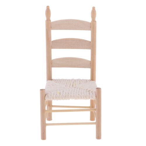 2pcs Mini Furniture Wooden Chair Miniatures for 1:12 Scale Dollhouse Decor