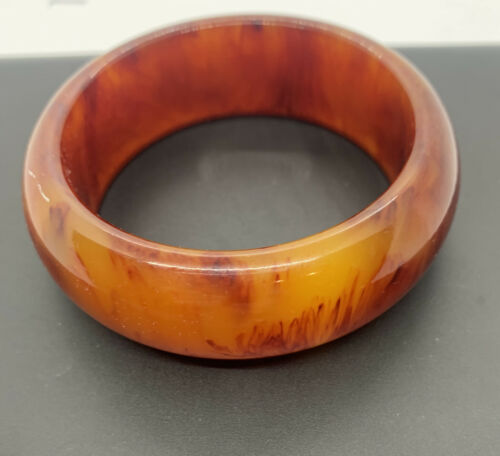 Vintage Bakelite Bangle Bracelet 1 wide~Tested and authentically old Root-beer Bakelite