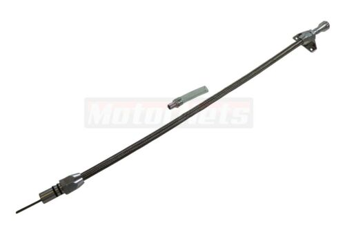 """29/"""" Stainless Braided Firewall Mount Ford C-6 Transmission Dipstick Hot Rod"""