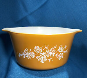 Vintage Pyrex Orange Floral Casserole Bowl 473-B Corning NY USA 1 liter