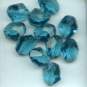Magasiner Pour Pas Cher 5523 16 I ***2 Perles Cristal Swarovski Polyèdre Irrégulieri 16mm Indicolite