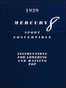 1939 Mercury Sport Décapotable Haut Manuel Du Propriétaire Avec Enveloppe Toit 3tbce5xi-07215657-308420527