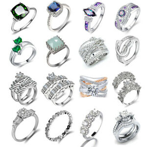 Luxury-Women-925-Silver-Jewelry-Wedding-Rings-White-Sapphire-Ring