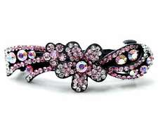 ConMiGo AN006 pink sequined & silver hairstyling crystal embelished hair clip