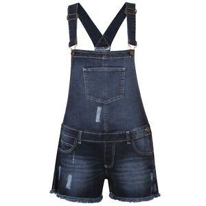 Details About Womens Ladies Denim Jeans Dungaree Girls Shorts Dress Jumpsuit Stretch Playsuit