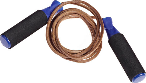 Workout Gym Exercise /& Fitness Boxing Foam Grip Handle Leather Skipping Rope 9ft