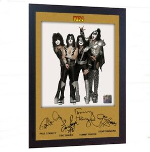 Kiss-rock-band-music-signed-autograph-photo-print-poster-FRAMED
