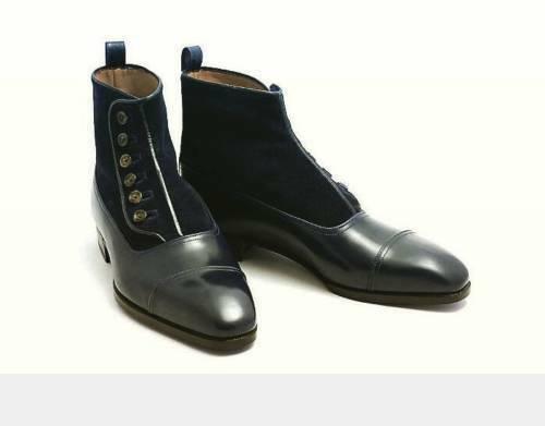 New-Handmade Negro Botón De Inicio, hombres tobillo ante Y Bota De Cuero, Zapatos para hombre negro