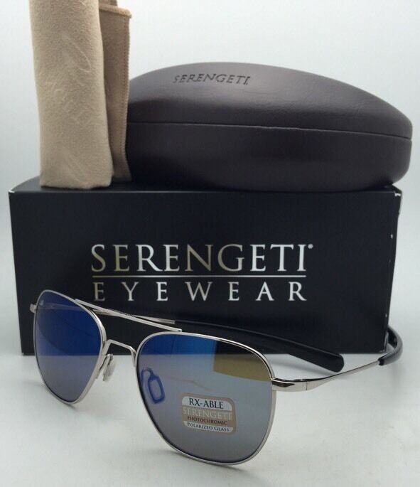 90aee5bedbc0 Serengeti Sortie Sunglasses Shiny Silver Frame Polarized 555nm Blue ...