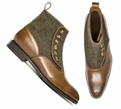 Mens Handmade Ankle High Boots Burgundy Leather Tweed Formal Casual Dress Shoes
