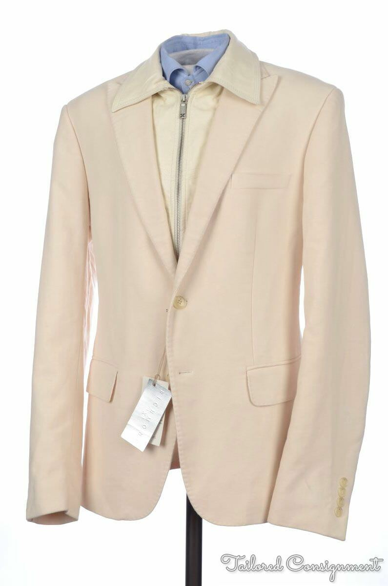 NEW - JOHN RICHMOND Beige Cotton Convertible Zip Out Lining Blazer Sport Coat 44