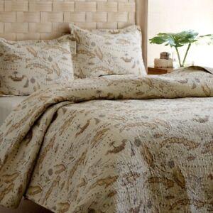 King-size-100-Cotton-Caribbean-Map-Reversible-Quilt-Set